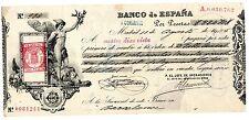 Espagne SPAIN ESPANA CHECK 83480 PESETAS 1905 W/STAMP BON ETAT