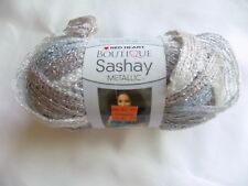 Opal Red Heart Boutique Sashay Metallic Ruffle Scarf Yarn 3.5 OZ Silver White #3