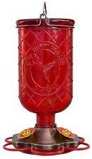 Garden Treasures Red Glass Antique Whiskey Bottle Hummingbird Feeder (New)