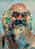 Original Ram Dass Palette Knife Portrait Art Painting Abstract Impressionism 16""