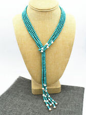"""freshwater pearl necklace sweater chain 52"""" 6 mm turquoise & white 7-8 mm"""