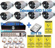 KIT VIDEOSORVEGLIANZA 8 TELECAMERE AHD 3.0MP+DVR 16C ICLOUD+ 8 CAVI 10M+HD 1 TB