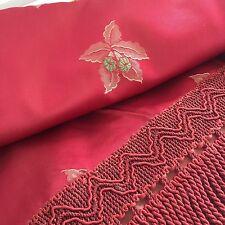 PARIS APT Vintage BROCADE RED Shimmery Floral Print DIVINE BEDSPREAD 50's