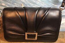 BUXTON SHOULDER Purse Organizer Black Leather Excellent Cond Detachable Strap