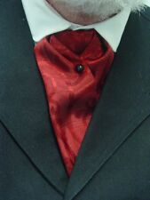 ascot cravat wedding old west ascot tie Mens Red and Black satin NEW