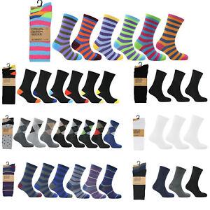 Mens Socks 12 Pairs Casual Work Sports Cotton Rich Designer Sock Size UK 6–11