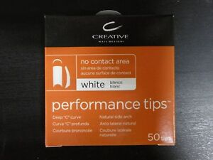 CREATIVE CND PERFORMANCE WHITE TIPS for Acrylic UV Gel Size #1-10 50 Refill