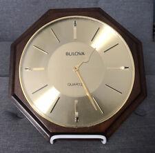 "Vintage Bulova Quartz 9.5"" Octagon Shaped  Wall Clock Marked D9304"