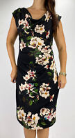 LIZ JORDAN Black Floral Print Cowl Neck Bodycon Dress Plus Size AU 16 Party Work