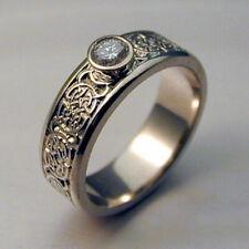 Men Women Fashion 925 Silver Rings Retro White Sapphire Jewelry Zircon Size 6-10