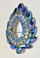 Signed SARAH COV Silvertone Blue Aurora Borelis Rhinestones Pin Brooch
