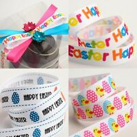 Happy Easter / Easter Eggs / Chicks Grosgrain Seasonal Craft Ribbon - 16mm x 5m