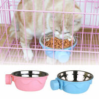 Pets Dog Cats Puppy Stainless Steel Hanging Food Water Bowl Feeder Crate Cage