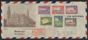 CURACAO 1943, Registered FDC Cover to Aruba, N.W.I., Sc 164/69, Mi 198/203