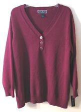 Womens Karen Scott Red Plum V-Neck 100% Cotton, L/S Sweater, 1X, NWT