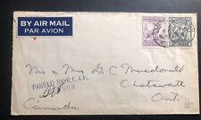 1943 Capo #3  Newfoundland Canada Censored Cover RCAF Overseas