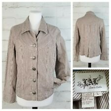 LAL Live A Little Sz L Brown & White Striped Lightweight Tapered Jacket Stretchy