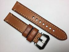 NEW 26MM LIGHT BROWN GENUINE CRAZY HORSE LEATHER STRAP BAND BRACELET FOR PANERAI