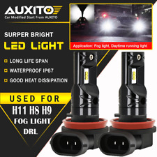 2X AUXITO H11 H8 H9  LED Fog Light Bulbs Car Driving Lamp DRL 6000K White CSP EA