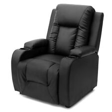 Modern Lazy Boy Recliner Chair Furniture Relax With Cup Holder Real Bonded New