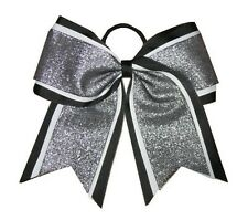 "NEW ""SHIMMER Black"" Cheer Bow Pony Tail 3"" Ribbon Girls Hair Bows Cheerleading"