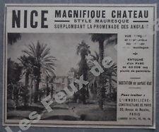 Publicité Immobilier NICE Chateau mauresque promenade des anglais  1927 advert