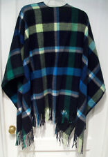 Talbots Wool Blend Wrap Around Shawl~Mid Blue/Black/White/Green Plaid