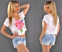 Damen Top Strand Shirt Bauchfrei Sommer CropTop Oberteil Freizeittop Bluse Blume