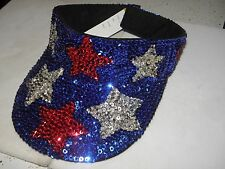 Sequin Stars Usa Visor Cap Hat 4Th Of July Parade Memorial Day Dfl Gop Elections