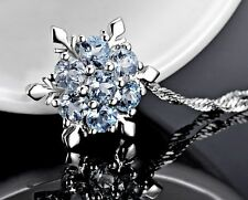 Sterling Silver Icy Topaz Frozen Snowflake Crystal Pendant Necklace Gift Box