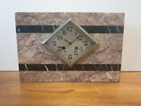 Antique 19th Century French Art Deco Pink/Red Marble Mental Clock (Rectangular)