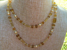 Long Necklace Multi Shaped Golden Yellow Glass Beads with Glass Pearls Handmade