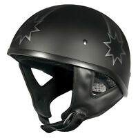 L Rebel Eureka Flag Open Face Matt Black Motorbike Helmet Matte Chopper Harley