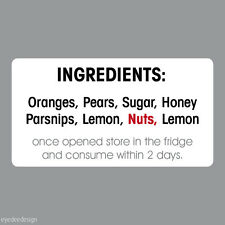 65 x Personalised Mini Ingredients Stickers/Labels/homemade/Jam/Pot/Bottle - 264