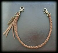 Biker Trucker Wallet Braided Leather Strap Chain Lanyard Rope Handmade Keyring