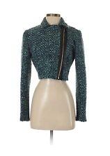 BADGLEY MISCHKA Asymmetrical Blue Tweed Faux Leather Jacket NEW NWT! Size 4 S