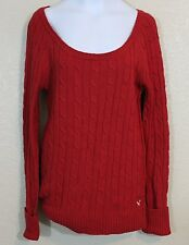 American Eagle Outfitters Cable Sweater Medium M Red Boat Neck Cotton Wool Blend