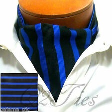 MEN Stripe BLACK ROYALBLUE Slipknot Style Ascot Cravat & HANKY 2PCS SET