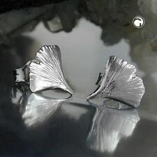 925 Sterlingsilber Ohrringe Ohrstecker Stecker 9mm Ginkgoblatt glänzend Silber
