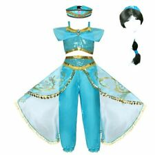 Girls Jasmine Party Dress Kids Princess Costume Wig Christmas Clothes