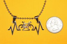Charm Bicycle necklace Free chain Bicyclist Heartbeat Pendant Stainless Steel