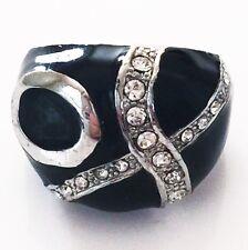USA RING Rhinestone Crystal Fashion Gemstone Silver SIZE-7 WHITE BLACK C4