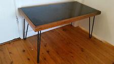Vintage retro  coffee table with black vitrolite glass top&hairpin legs