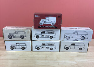 Lot of 7 Racing Champions Ford Delivery Van Lockable Coin Bank w/ Original Boxes