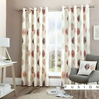 Fusion SKANDI LEAF Red 100% Cotton Ready-Made Eyelet Curtains & Cushions