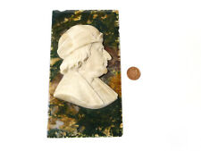 Antique Carved Man's Profile Portrait Alabaster on Moss Agate Wall Plaque *