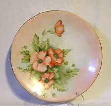 """Beautiful """"HEINRICH"""" Hand Painted Floral Poppy's 12 3/4"""" Artist Signed Germany"""