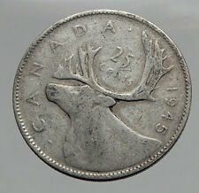 1945 CANADA King George VI of Britain Domains Silver 25 Cent Coin CARIBOU i62880