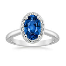 2.65 Ct Oval Diamond genuine Blue Sapphire Ring 14K Solid White Gold Size M N O