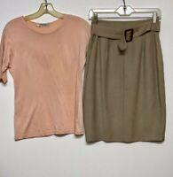 Giorgio Armani Le Collezioni Green Pencil Skirt Wool Belt & Pink Top Size 8 (42)
